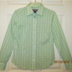 VINEYARD VINES Lime Green Check Button Down Top
